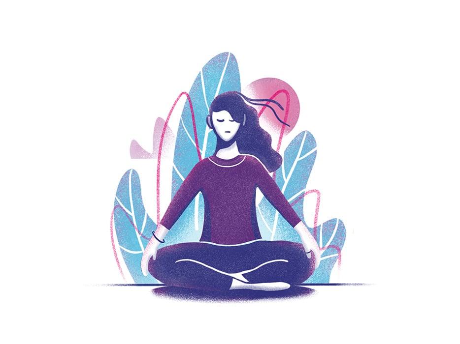 Ilustração de mulher meditando