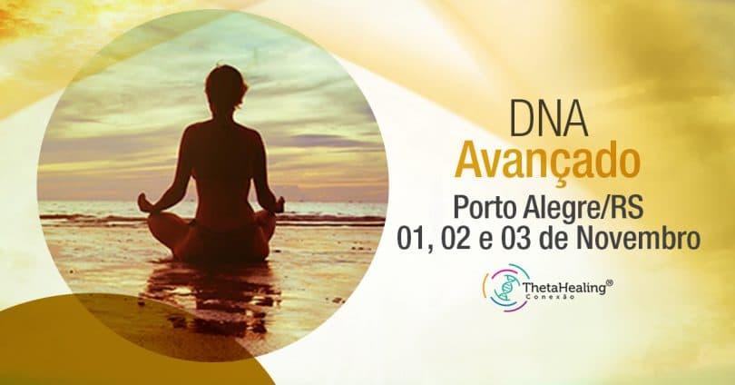 Banner com informações do Curso Thetahealing DNA Avançado Porto Alegre/RS
