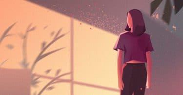 Ilustração de mulher com reflexo do sol na janela