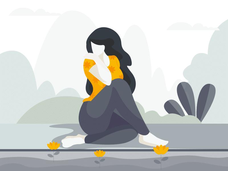 Ilustração de mulher sentada olhando flores triste
