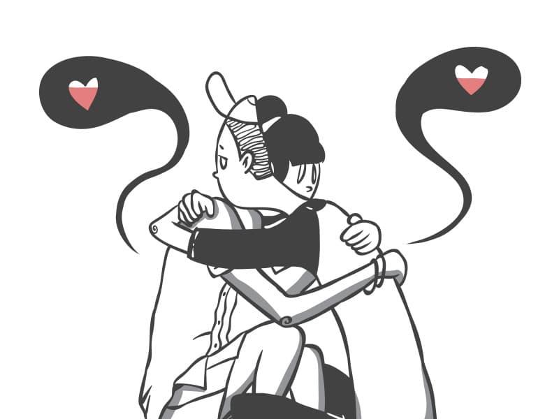 Ilustração de casal abraçado com corações saindo