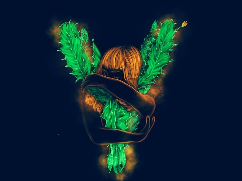 Ilustração de mulher com folhas saindo dela em verde brilhante