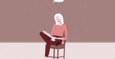 Ilustração de mulher sentada em cadeira escrevendo