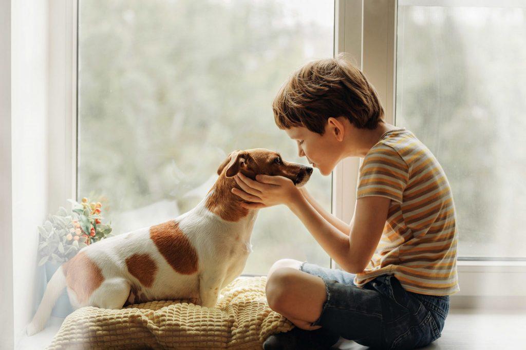 Menino segura cabeça de cachorro com as duas mãos e têm sua boca próxima ao focinho do cão.