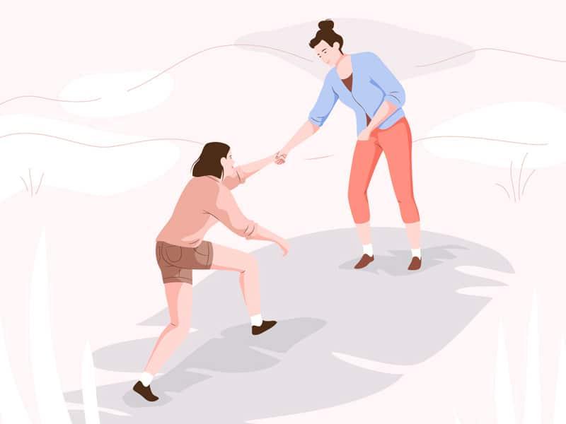 Ilustração de uma mulher ajudando a outra a subir um morro.