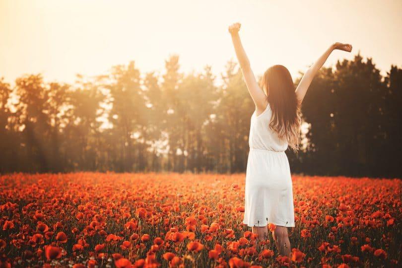 Mulher de costas em campo de flores vermelhas