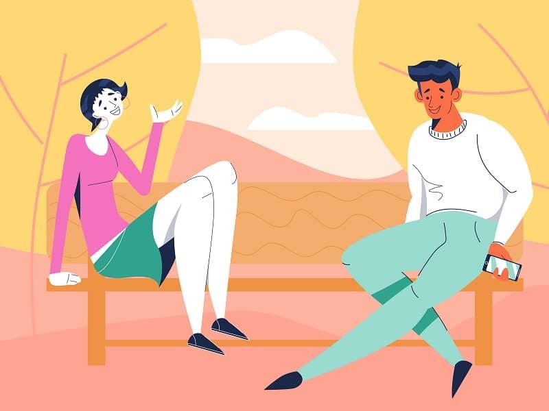 Ilustração de um homem e uma mulher sentados em um banco conversando.