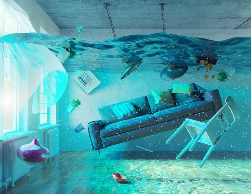 Sala de estar inundada.