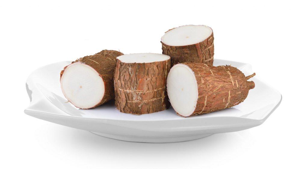 Prato branco com quatro pedaços de mandioca com casca cortadas ao meio.