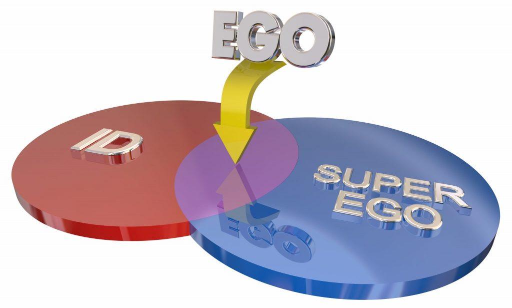 Dois círculos: um na cor vermelha, escrito ID e o outro na cor azul, escrito Super Ego. A palavra Ego está fora dos círculos, porém escrita sobre uma seta, indicando o centro dos dois círculos.