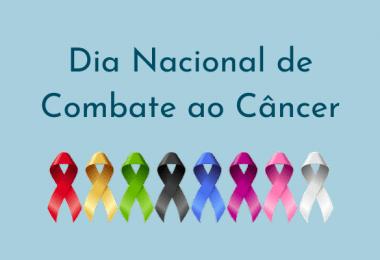 Ilustração com as faixas de combate ao Câncer escrito Dia Nacional de Combate ao Câncer