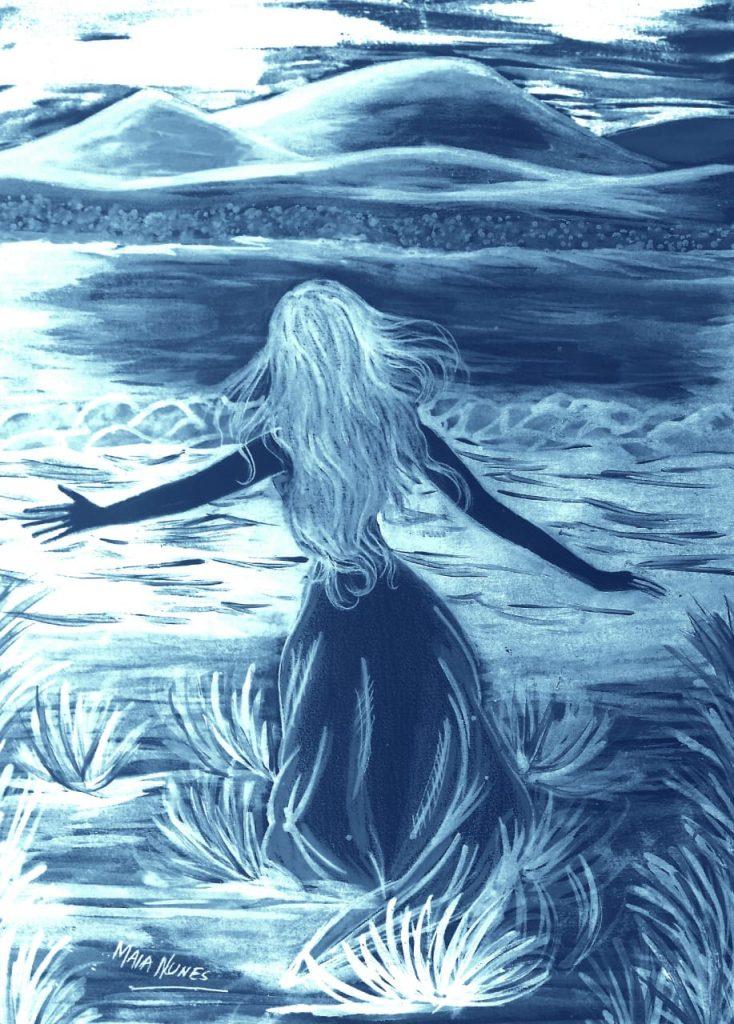 Desenho de mulher caminhando, por Maia Nunes.