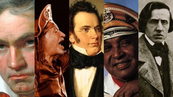 Colagem de fotos dos compositores Beethoven, Alceu Valença, Schubert, Luiz Gonzaga e Chopin.