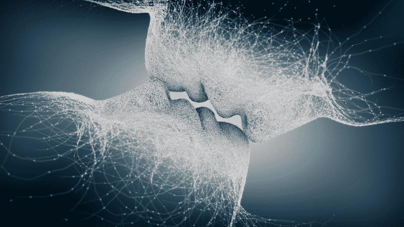 Ilustração de duas silhuetas humanas se beijando