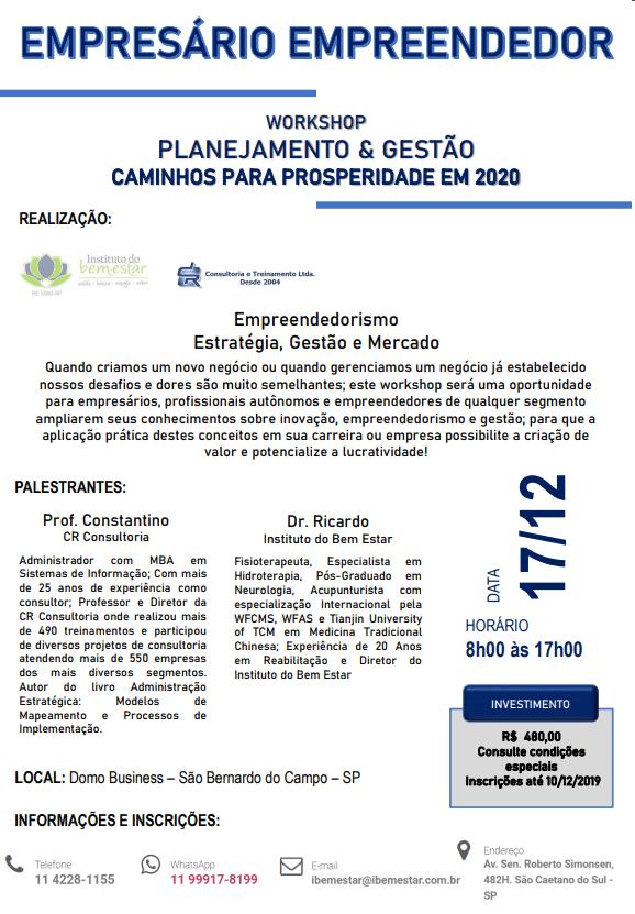 Flyer Evento Planejamento e Gestão Prosperidade 2020
