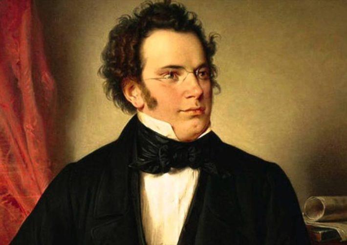 Pintura de Franz Schubert, com óculos e roupas pretas.