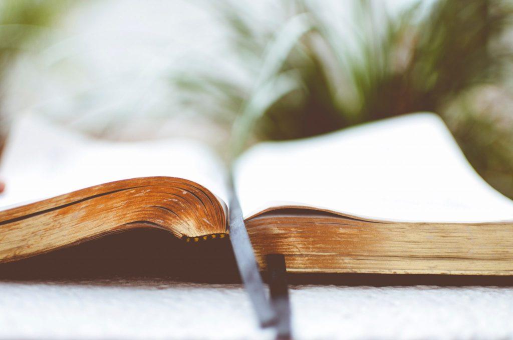 Livro aberto com marcador de página no meio