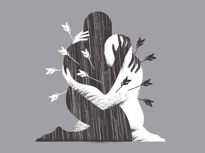 Ilustração de duas pessoas se abraçando e sendo atingidas nas costas por flechas.