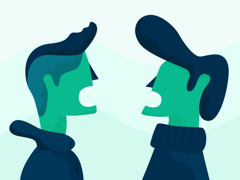 Ilustração de duas pessoas discutindo sobre fundo verde.