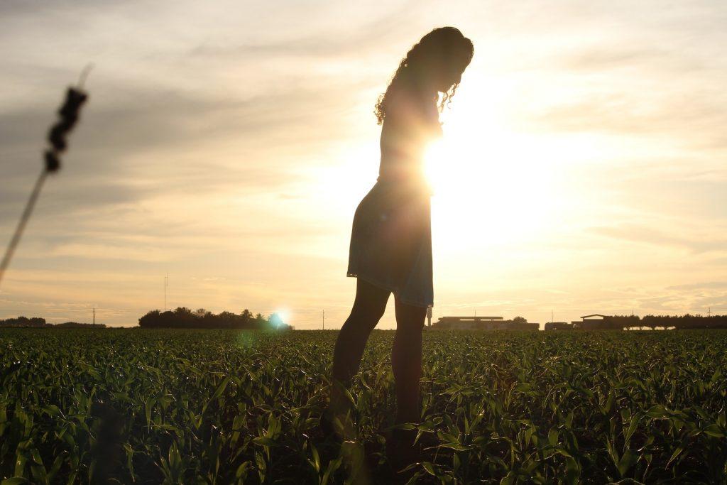 Imagem de uma plantação de milho. Ao fundo o pôr do sol. No centro, uma mulher em pé, olhando para o chão.