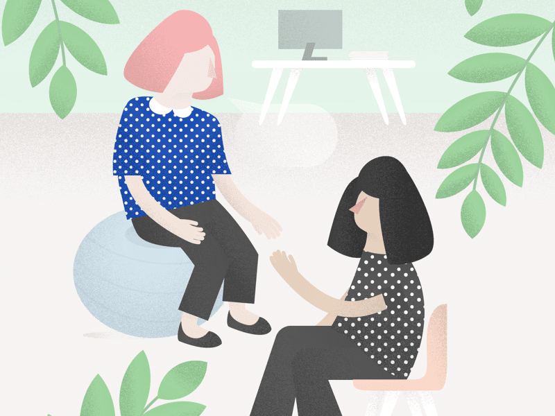 Ilustração de duas mulheres conversando.