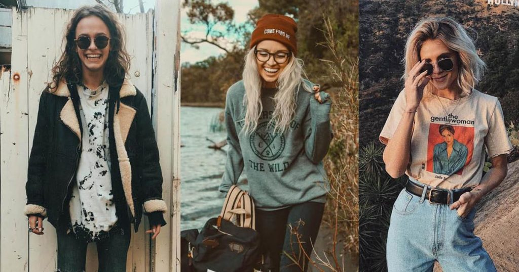 Três mulheres em ambientes diferentes. Uma está usando um casaco preto de frio com gola de pele a outra, ao centro está usanndo uma touca marrom, segurando uma mochila e a moça da direita da foto uma camiseta e um óculos escuro.