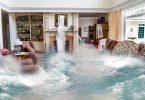 Edição de uma sala de estar inundada por forte correnteza.