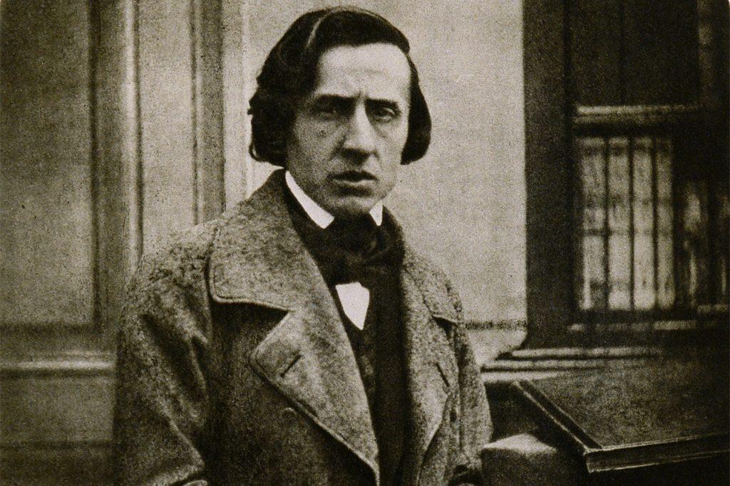 Fotografia em preto e branco de Frédéric Chopin.