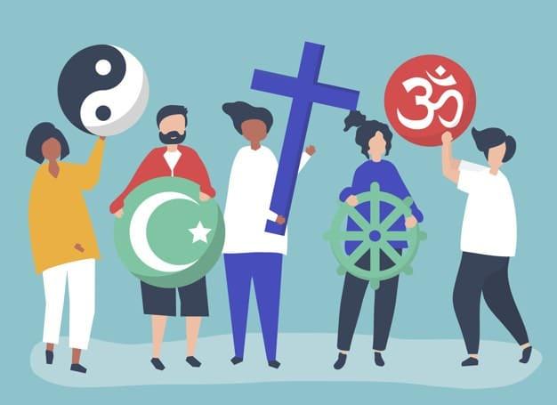 Ilustração de pessoas segurando adereços de diferentes religiões.