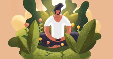 Ilustração de homem meditando