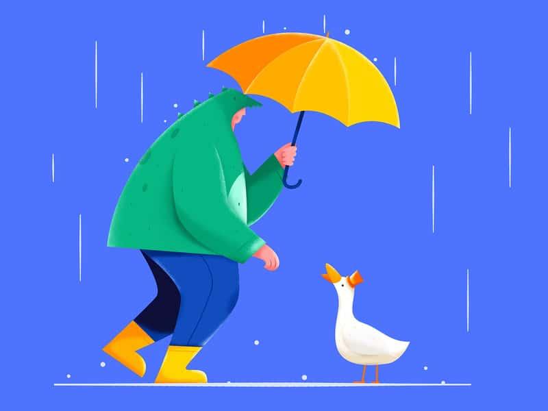 Homem na chuva olhando para um patinho de chapéu.