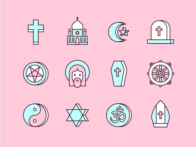 Ilustração de ícones religiosos, como símbolos cristãos, budistas e muçulmanos, sobre fundo rosa.