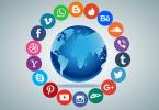 Imagem de um globo terrestre, rodeado por ícones de redes sociais.