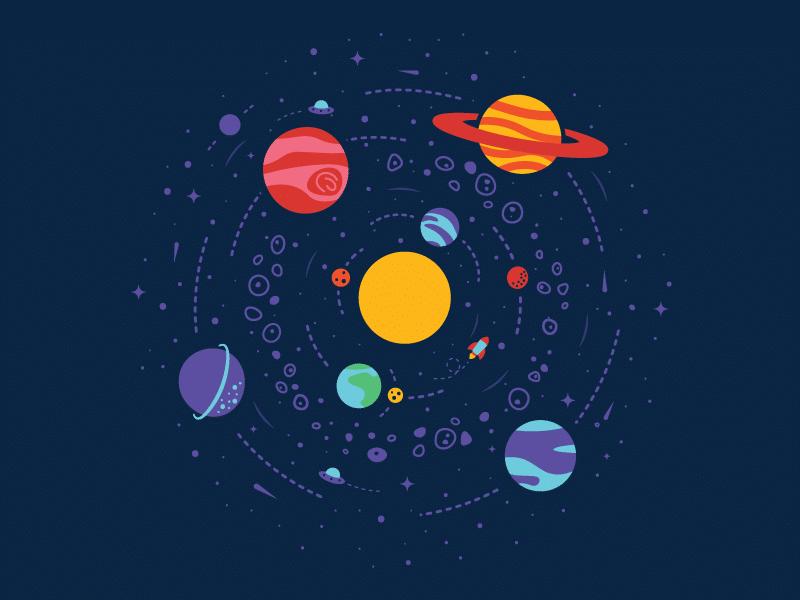 Ilustração planetas do sistema solar e sol