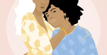 Ilustração de duas mulheres se abraçando.