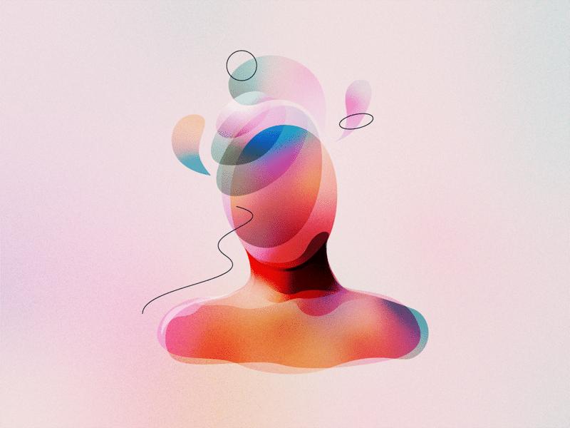 Ilustração abstrata de ser com energias flutuantes