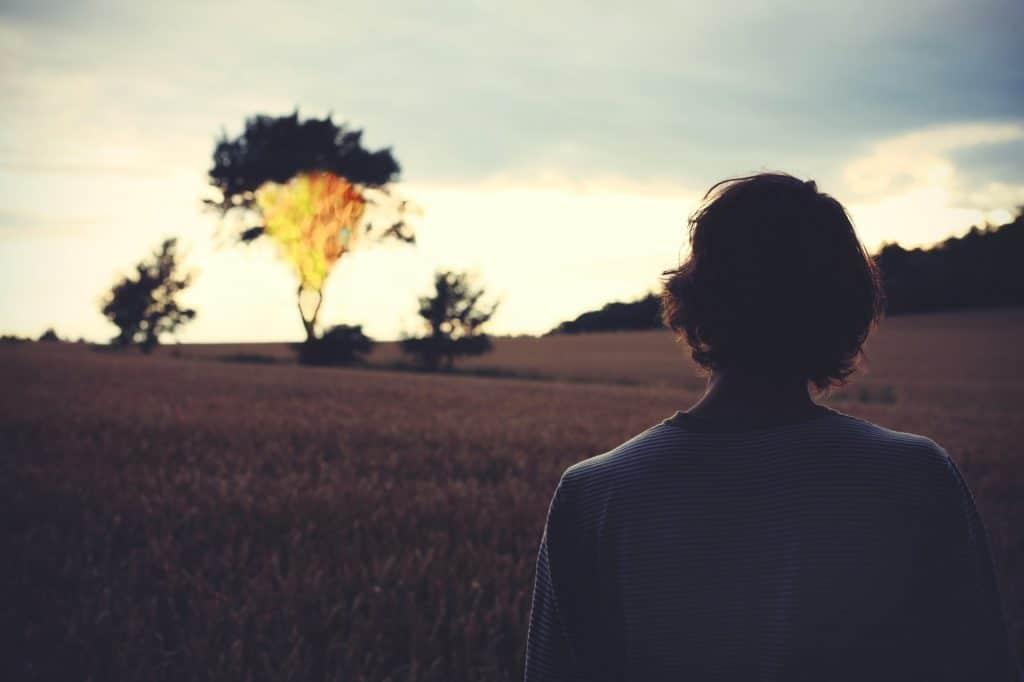 Mulher em pé de costas admirando o pôr do sol.