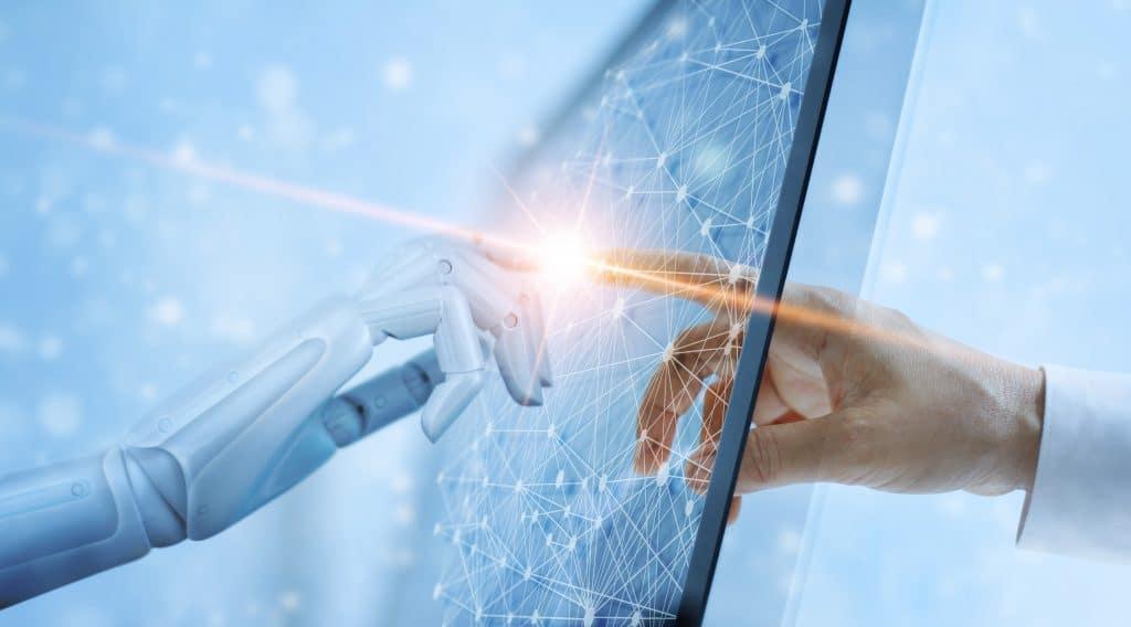 Mãos de robô e humano tocando na interface de conexão de rede virtual Conceito de tecnologia de inteligência artificial.