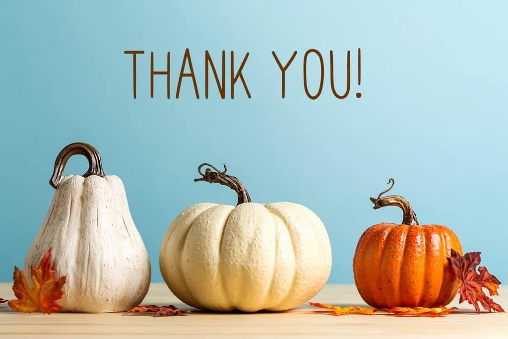 Três tipos de abóboras sendo uma na cor laranja e as outras na cor branca. Elas estão sobre uma mesa de madeira bege clara, decoradas com folhas de outono. Ao fundo em uma parede azul clara, temos escrito a palavra THANK YOU!