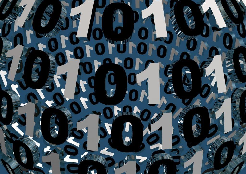 Quadro com fundo cinza e ao fundo os números Um e Zero em destaque nas cores preto e branco.