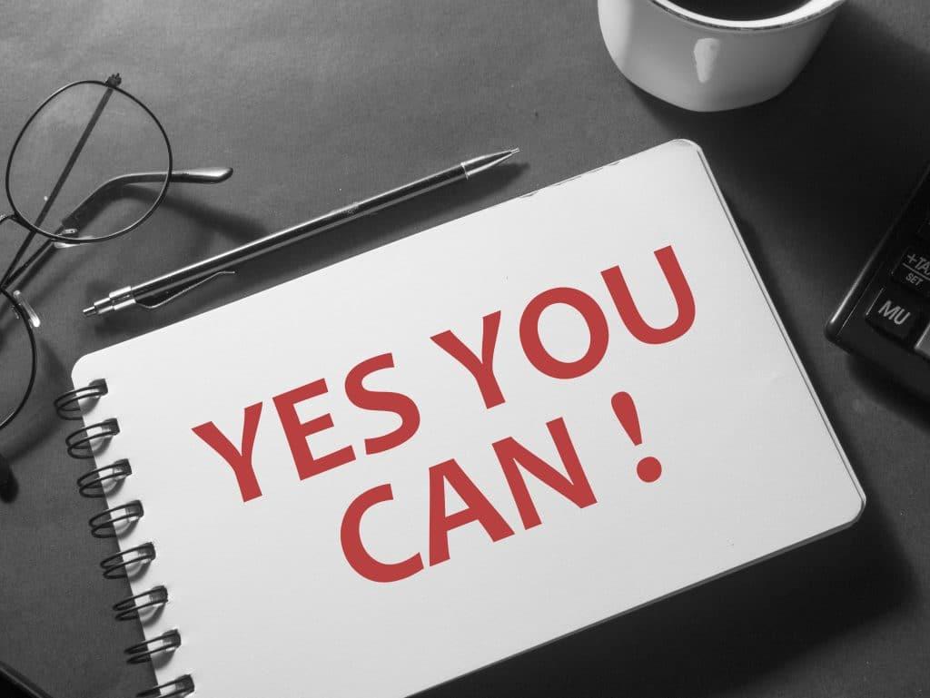 Frases otimistas: Sim você pode.