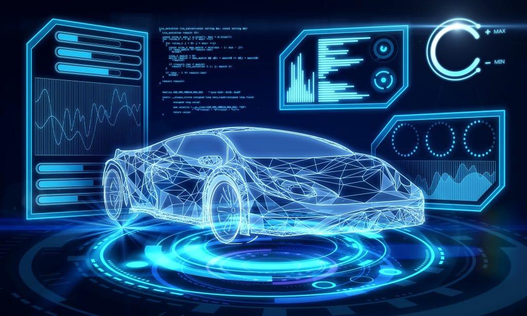 Interface criativa de carro azul no papel de parede escuro. Transporte, engenharia, futuro e conceito de tecnologia.