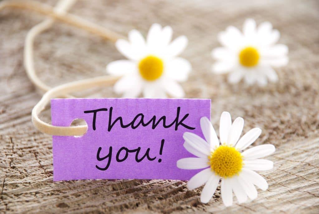 Palavra Thank you escrita em preto sobre um cartão na cor lilás. Ao entorno do pequeno cartão várias margaridas decoram o ambiente.