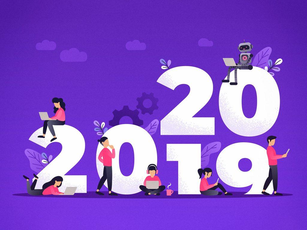 Ilustração de pessoas usando dispositivos eletrônicos enquanto o ano de 2019 dá lugar ao de 2020.