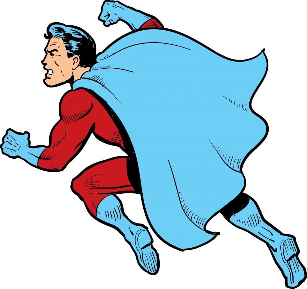 Imagem do Super-herói - no caso o super homem. Ele está com a clássica capa azul, lutando e dando um soco.