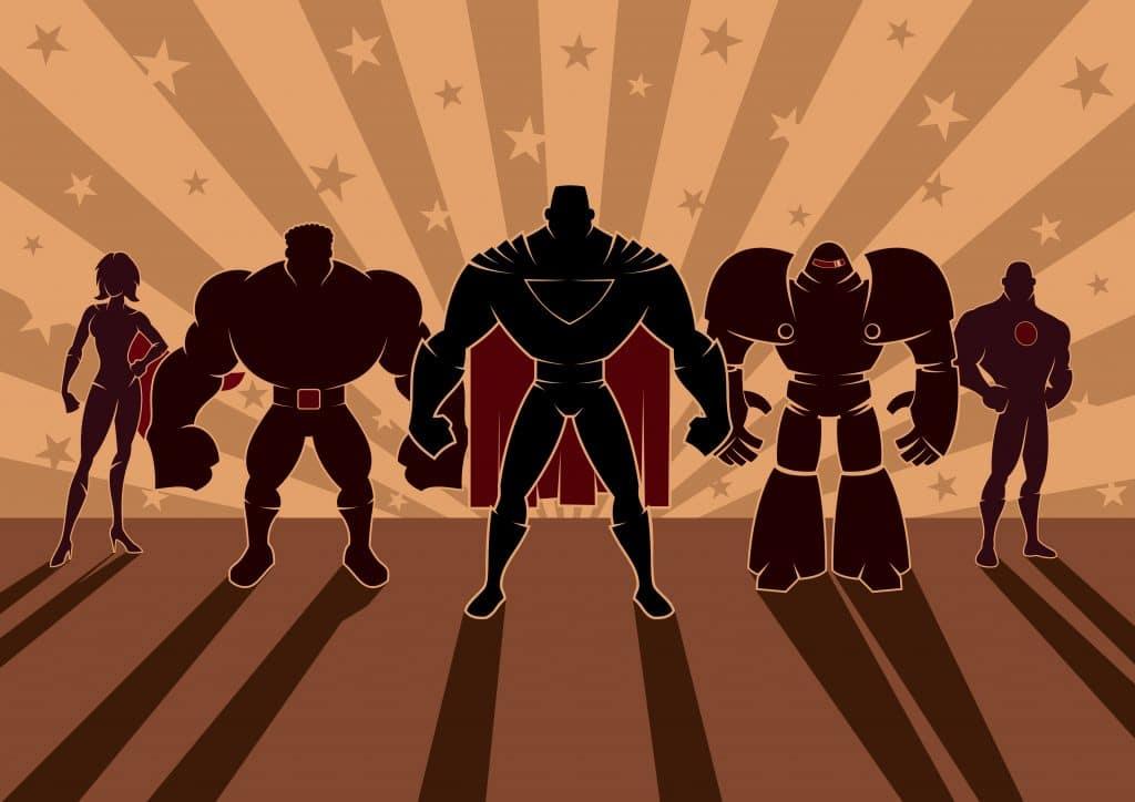 Cinco super heróis das histórias em quadrinhos.