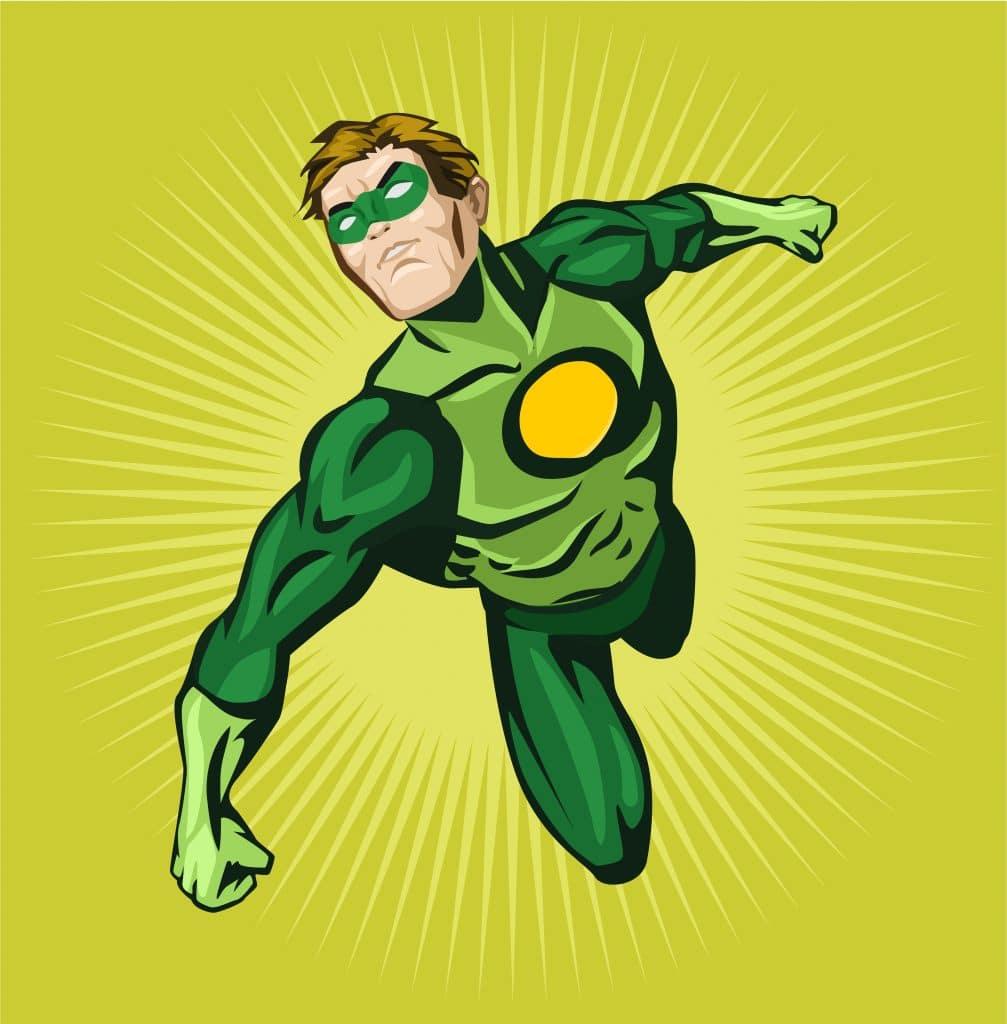 Mais um super herói das histórias em quadrinhos. Ele veste um macacão e uma máscara verde.