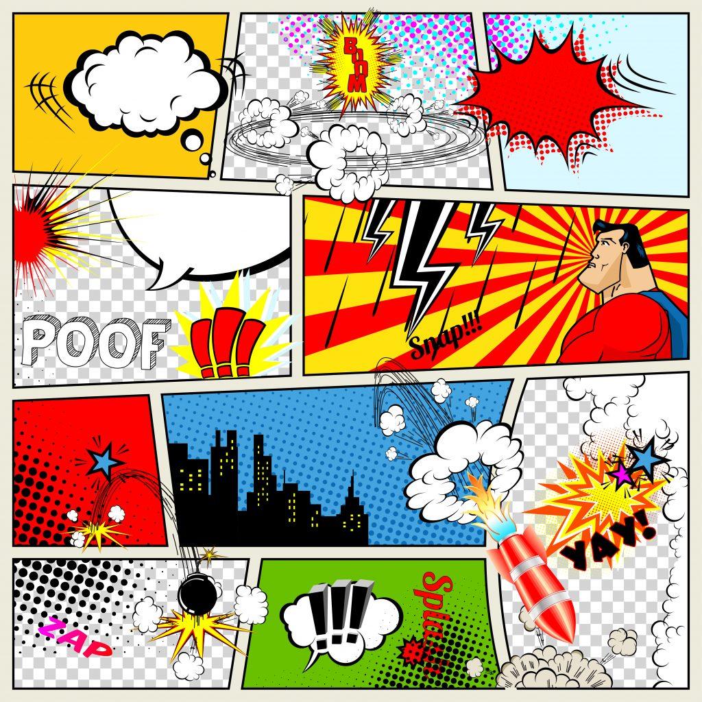 Banner com várias imagens em estilo retrô como balões, quadrinhos, efeitos sonoros utilizados nas histórias em quadrinhos.