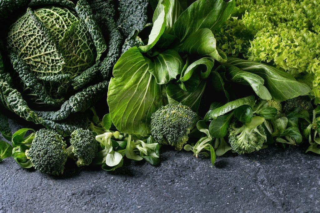 Variedade de folhagem verde como: brócolis, couve, repolho, alface crespa.