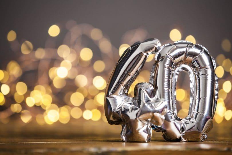Balão de aniversário com número quarenta